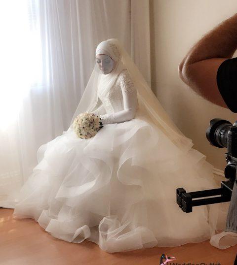 Cyla Ruffle Beaded Long Sleeve Wedding Dress