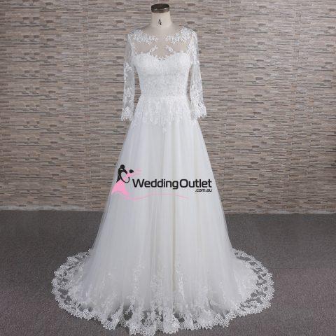Milan Illusion Aline Long Sleeve Wedding Dress