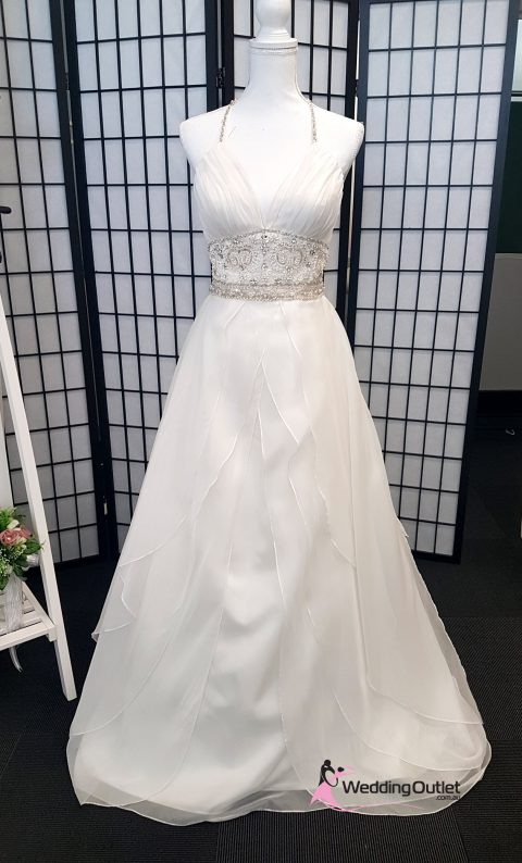 Leece Halter Neck Beaded Ruffle Wedding Dress