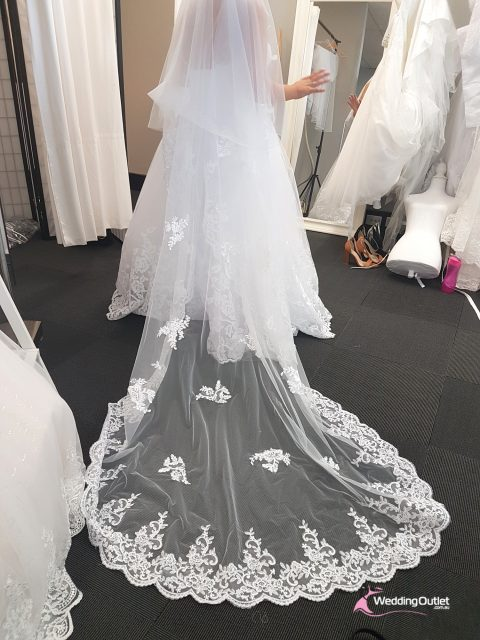 Wedding Veil with Patches of Lace
