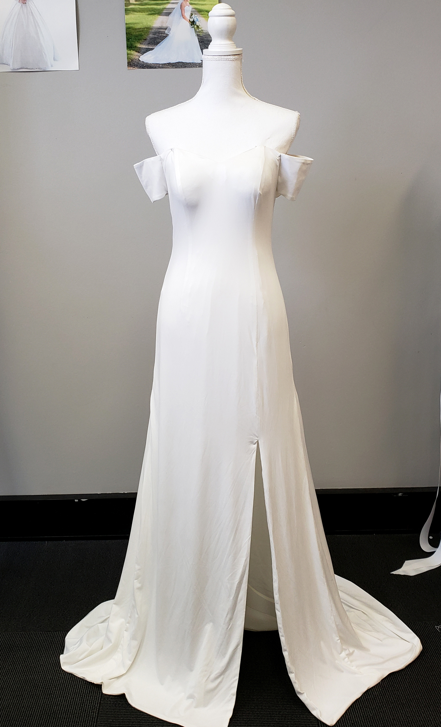 634f85e94e5d Cleo Stretch Satin Plain Wedding Dress - WeddingOutlet.com.au