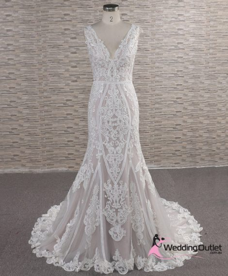 Julias Vintage Lace Tan Wedding Dress