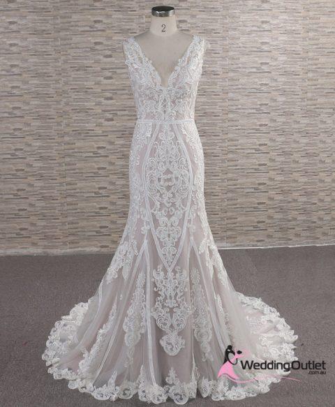 Julias Vintage Lace Tan Wedding Dress