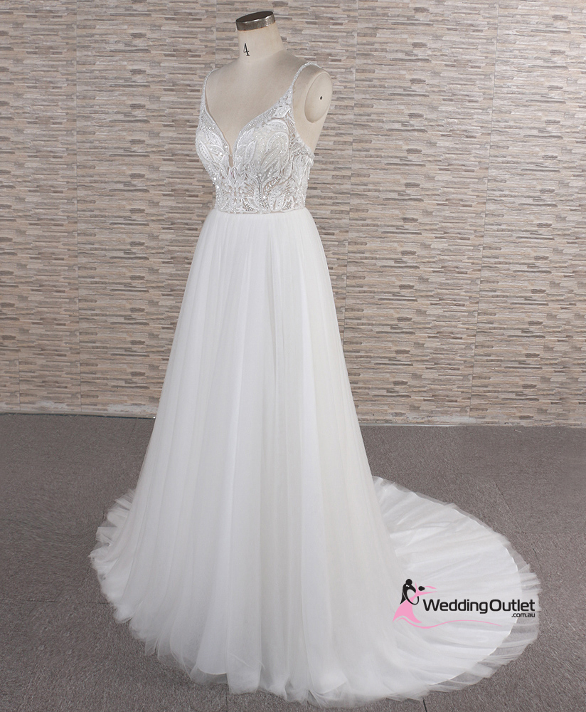 Butterfly Wedding Gown: Butterfly Spaghetti Strap Beaded Wedding Dress