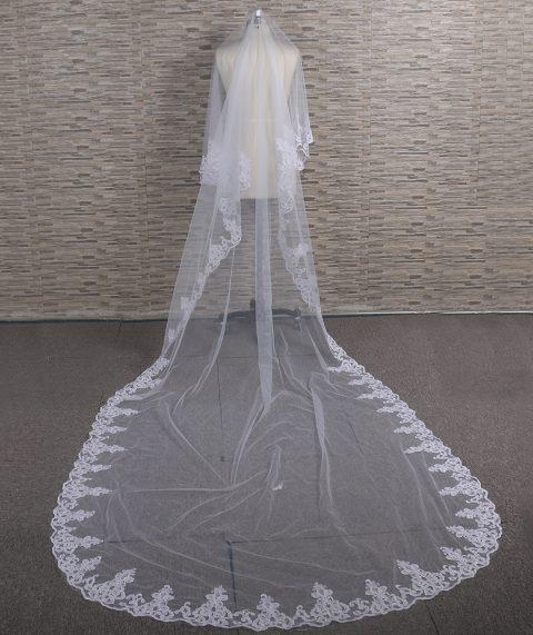 Abila Lace Edge Veil in White