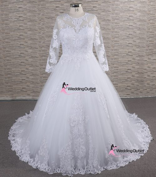 Abila Long Sleeve Vintage Lace Wedding Gown
