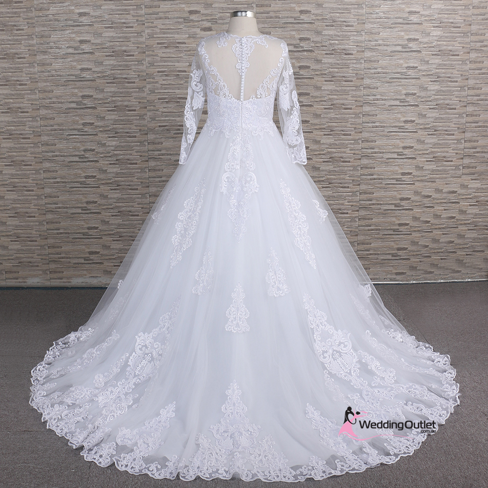 Wedding Gowns Outlet: Abila Long Sleeve Vintage Lace Wedding Gown