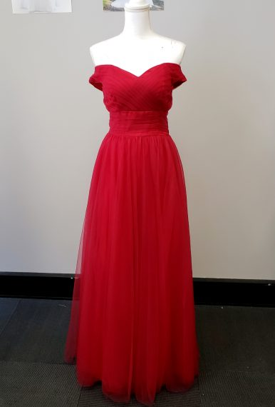 Scarlett Red Off Shoulder Evening Dress #SR101