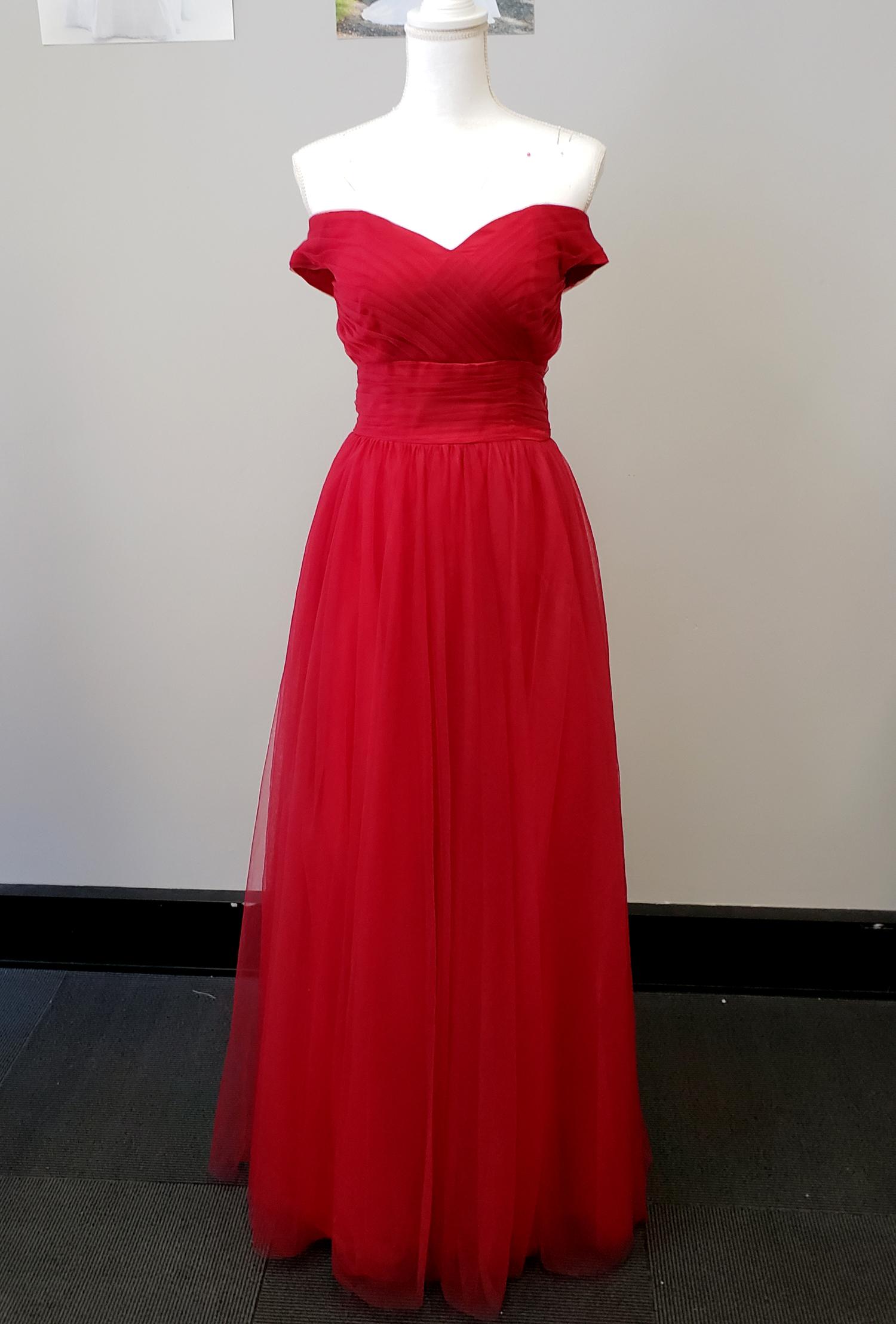 Scarlett Red Off Shoulder Evening Dress Sr101