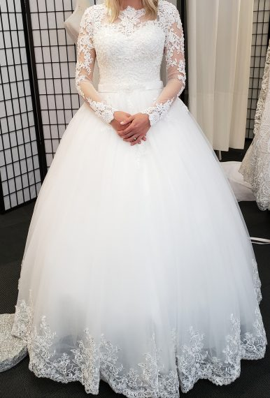 Trinity Princess Ball Gown Beaded Long Sleeve Bridal Gown