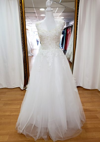 Greta Sleeved wedding dress with pearls