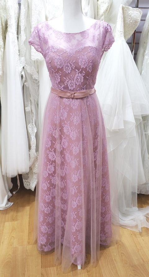 Dusty Pink Lace Evening Dress #AX1100