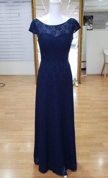 Navy Blue Lace Bridesmaid or Evening Dress