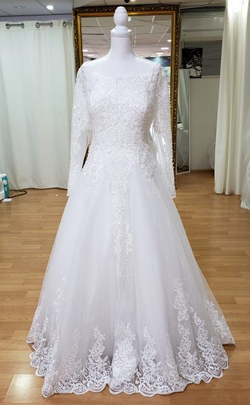 Becca Long Sleeve Beaded Wedding Dress