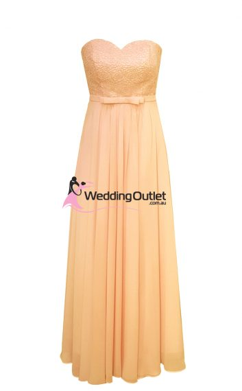 Apricot Peach Strapless Bridesmaid Dresses Style #AN101