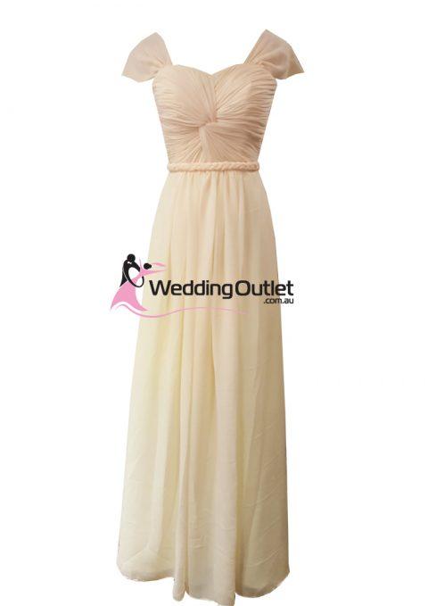Baby Peach Capped Sleeves Bridesmaid Dress Style #AR101