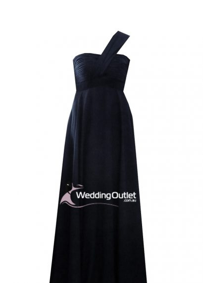 Black bridesmaid dress one shoulder Style #B9190