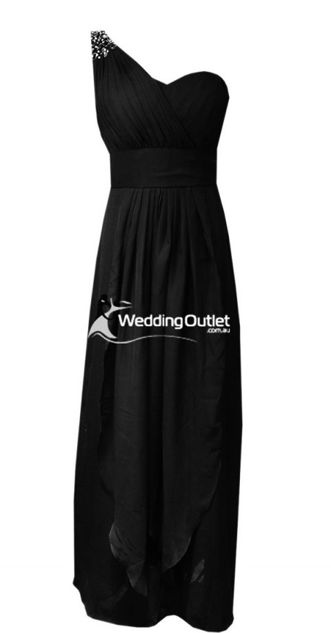 Black sleeved bridesmaid dresses style #C104