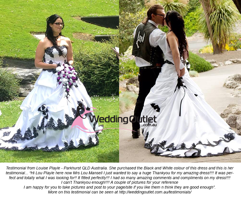Purple Black and White Wedding Dress