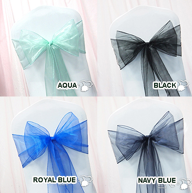 Chair Sash Aqua Blue Black 10/Pack