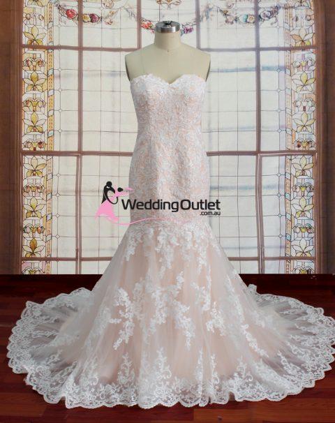 Adalyn Blush Mermaid Lace Wedding Dress