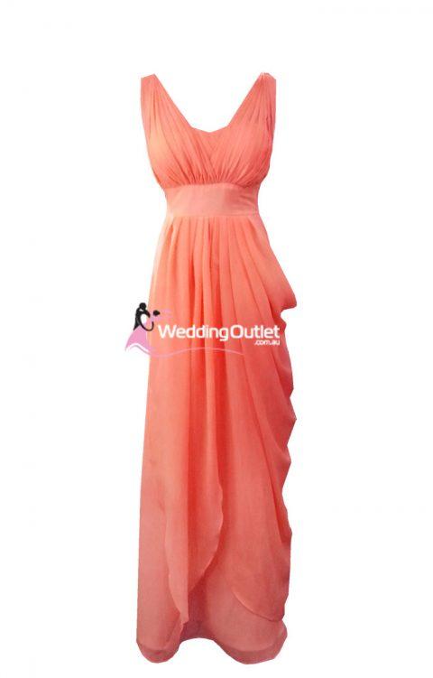 Deep Coral Bridesmaid Dresses Style #C102