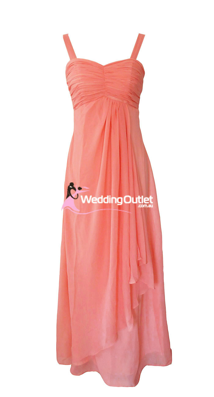 Coral Bridesmaid Dress Style G101 No Sequins On Sleeves