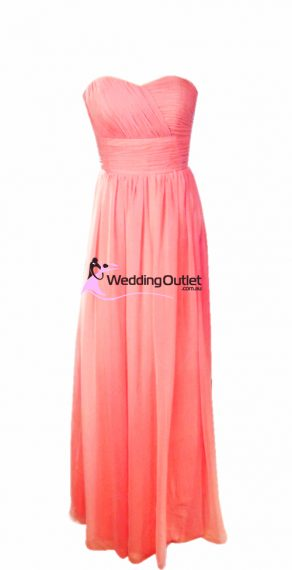 Coral Pink Bridesmaid Dresses Style #O101