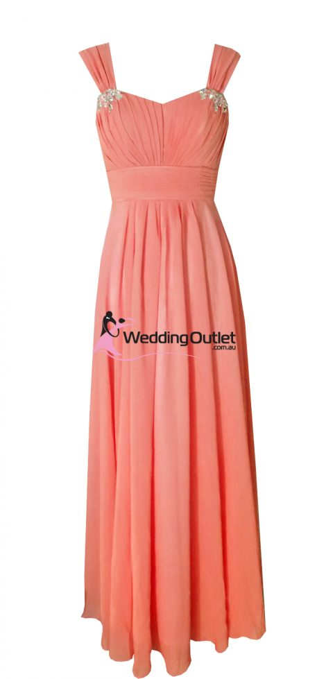 Coral sleeved bridesmaid dresses style #A1029
