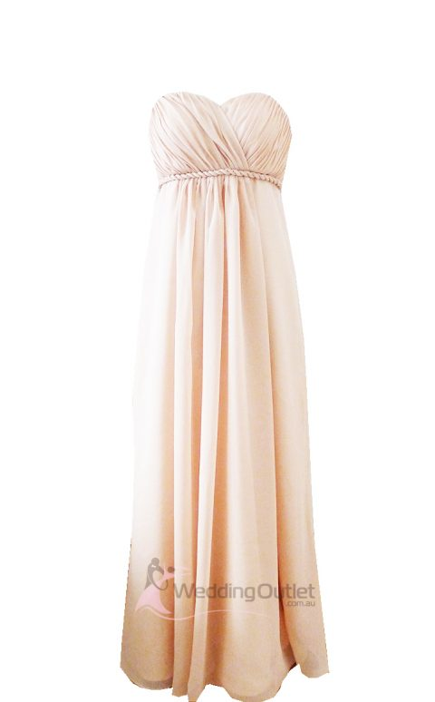 Cream sweet heart maxi bridesmaid dress Style #D101