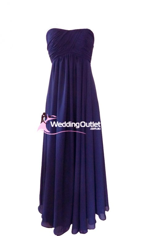 Aubergine Purple Strapless Bridesmaid Dress or Evening Gown Style #J101