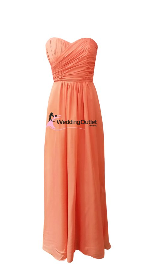 Deep Coral Strapless Bridesmaid Dresses Style #AB101