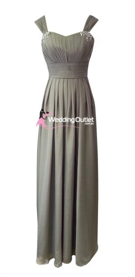 Grey Maxi Bridesmaid Dress Style #A1029
