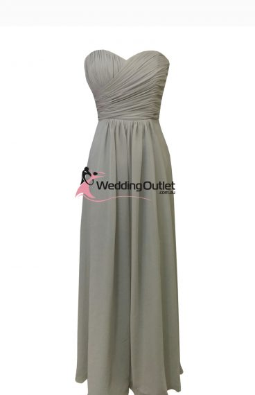 Grey Strapless Bridesmaid Dress Style #AB101
