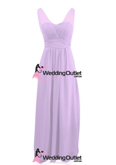 Lilac Purple Two Sleeves Bridesmaid Dresses Style #AK101
