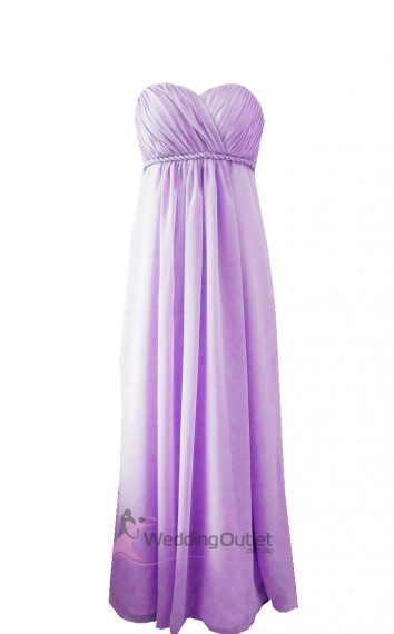 Lilac Purple Strapless Bridesmaid Dress Style #D101