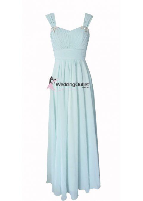 Misty Blue Cap Sleeve Bridesmaid Dresses Style #A1029