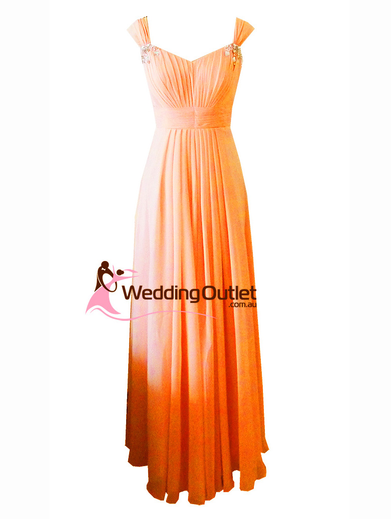 Orange Maxi Bridesmaid Dress Style A1029 Weddingoutlet