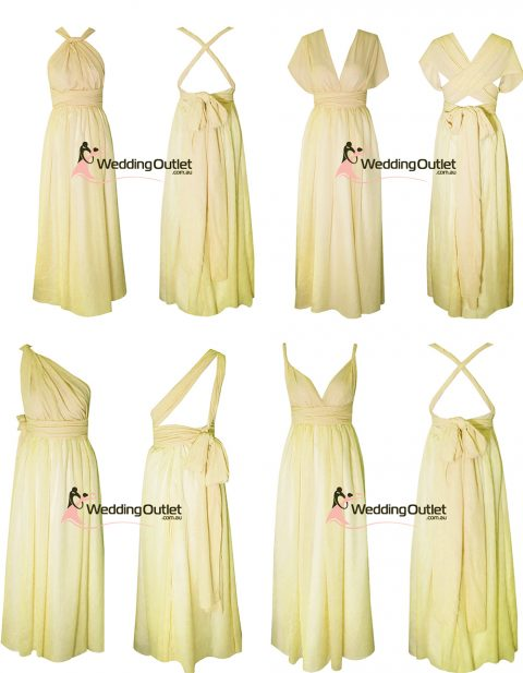 Pale Yellow Eight Way Twist and Wrap Dress