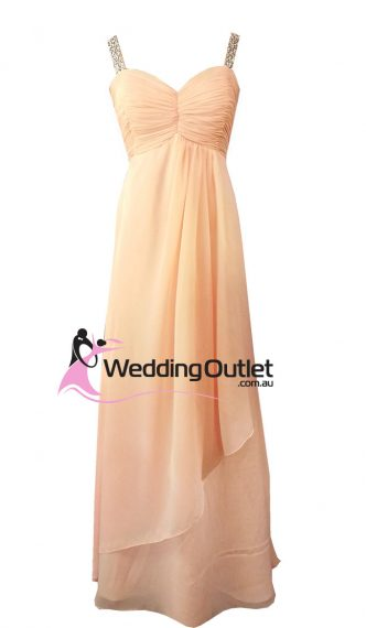 Apricot Peach Evening Gown or Bridesmaid Dress Style #G101 Sequins on Sleeves