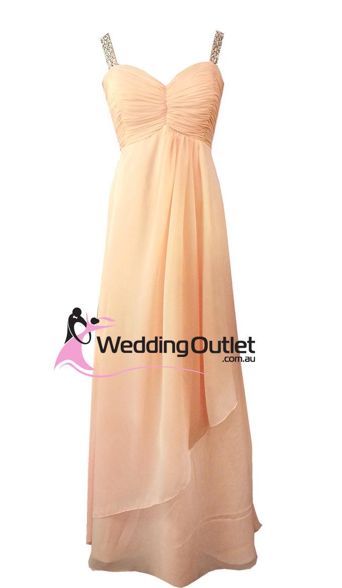 Pale orange bridesmaid dresses