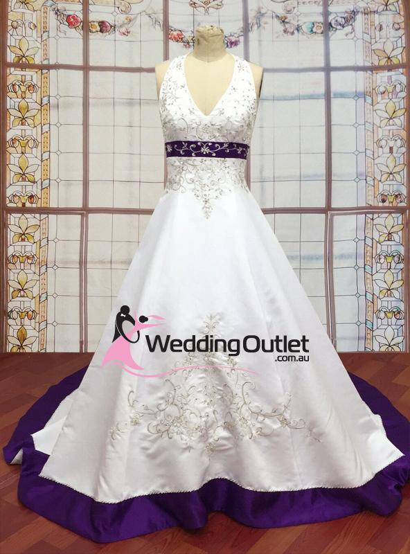 Purple Wedding Dresses.Liana Halter Neck Satin Embroidery Purple Wedding Dress Weddingoutlet Com Au