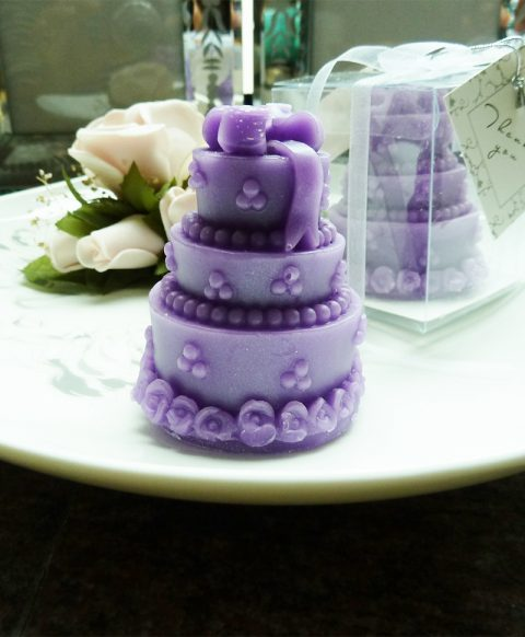Purple Cake Candle Wedding favors