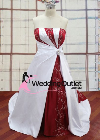 Emily Red and white Wedding Dress with embroidery