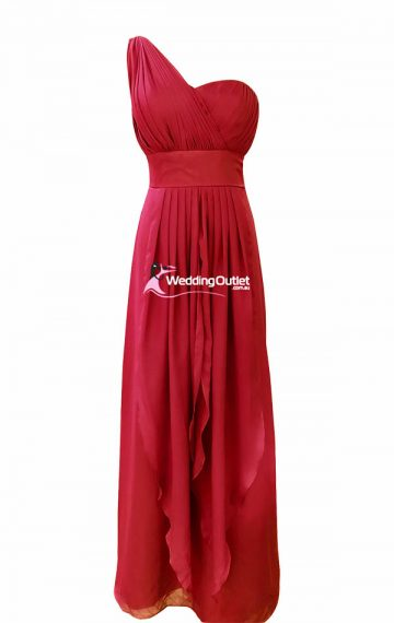 Red Bridesmaid Dress Maxi Style #C103