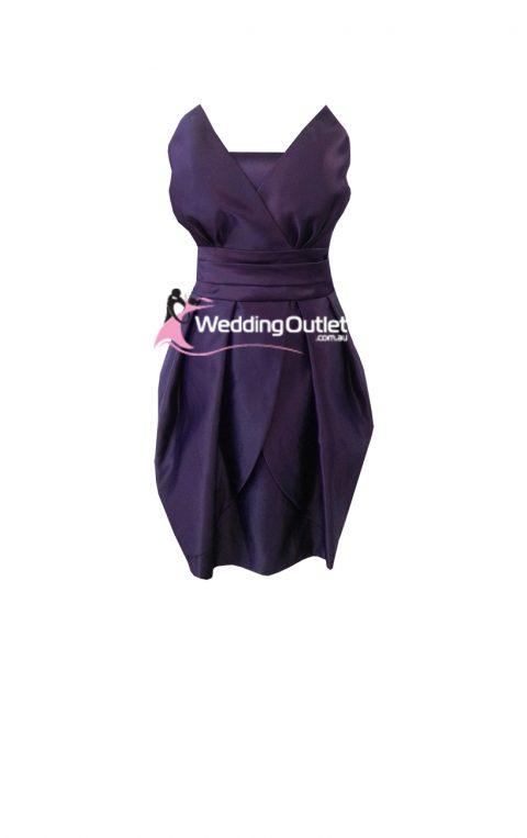 Acai Purple Satin Strapless Bridesmaid Dresses Short
