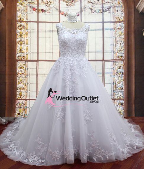 Kennedy A-Line Simple Lace Luxury Wedding Gown