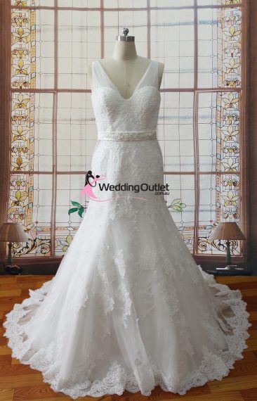Jackie lace sleeves wedding dress