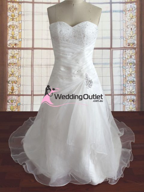 Sammie strapless beaded with pearls wedding gown