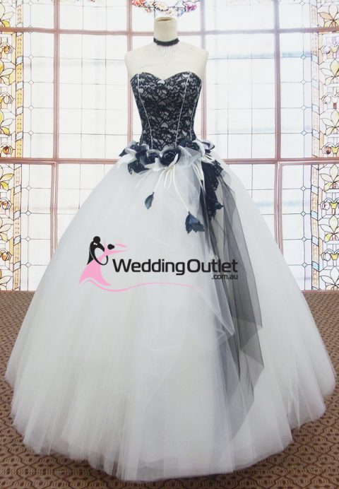Taylor Black and White Wedding Evening Gown